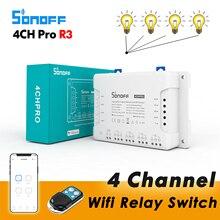 Sonoff 4CH Pro R3 / 4CH R3, interruptor de relé Wifi inteligente, 4 canales 433 RF Control aplicación eWelink Control por voz con Alexa Google home