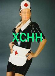 Sexy látex borracha cosplay enfermeira vestido sexy conjuntos de vestido com chapéu & avental com botão de metal frontal cosplay traje