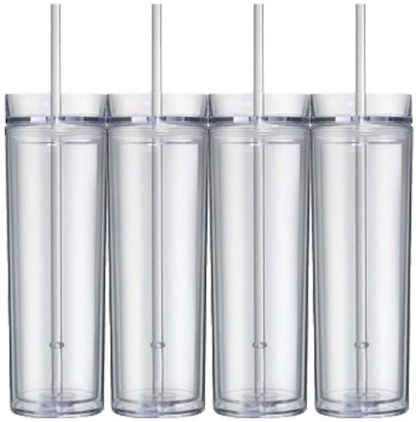 4 шт., пластиковые контейнеры с крышкой и соломинкой, 16 унций