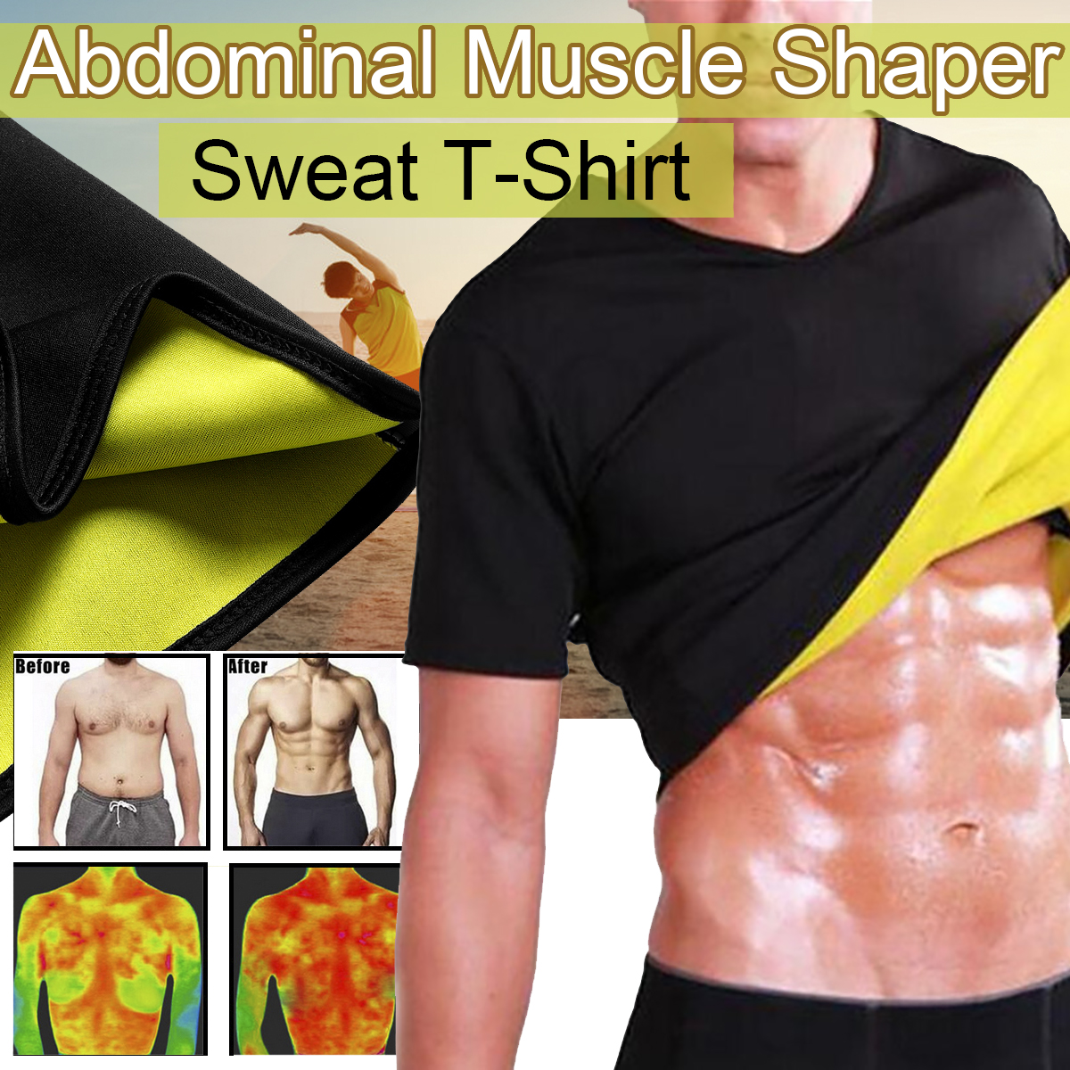 Men Sport Slimming Tummy Body Shaper Hot Thermo Sauna Sweat Yoga Gym T-Shirt Sharper Body Slimming Sport Clothes Wear Fitness