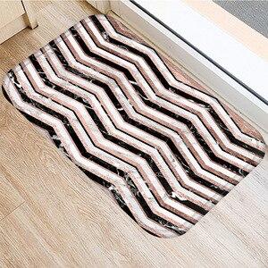 Image 2 - 40*60センチメートルブラウンストライプノンスリップスエードカーペットドアマット屋外キッチンリビングルームのフロアマットホームベッドルーム装飾フロアマット。