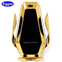 Otomatik kelepçe araba kablosuz şarj cihazı akıcı ışık için P30Pro Iphone11 XR XS XS MAX Qi 10W hızlı şarj tutucu