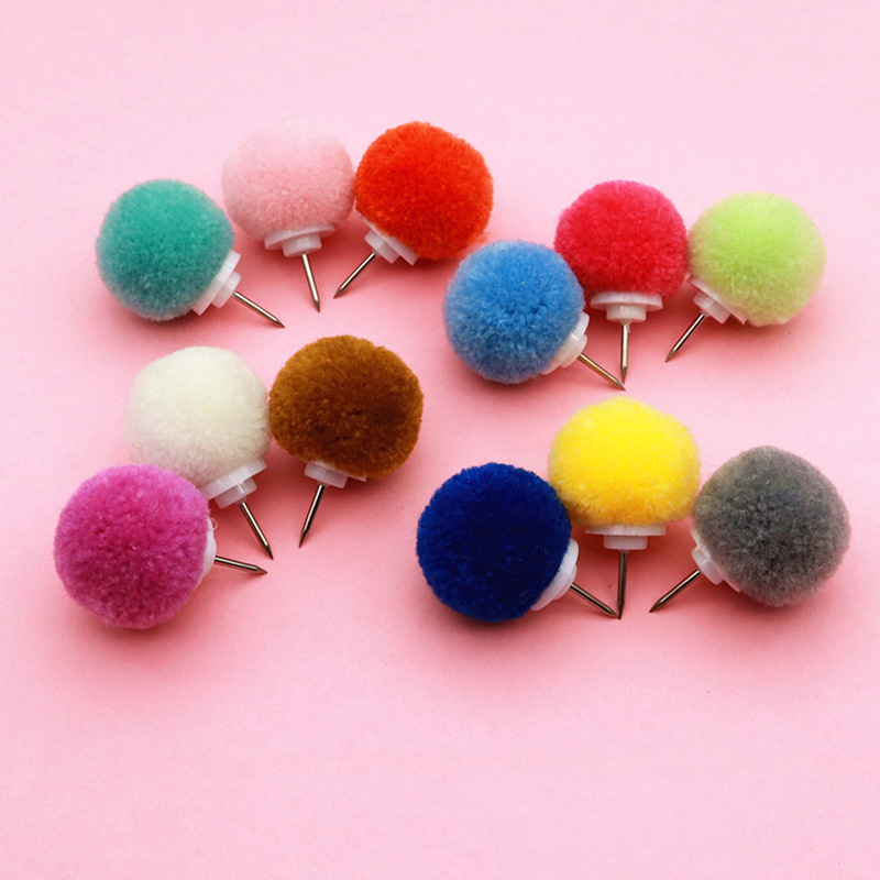 Cute Fur Ball Thumbtack INS Creative Decorative Painting Pin Push Pins Decorative Thumbtack Pushpins Decorative Standard Pin