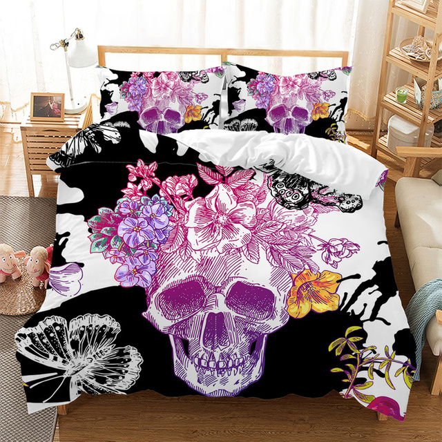 3D FLOWER SKULL BEDDING SET (6 VARIAN)