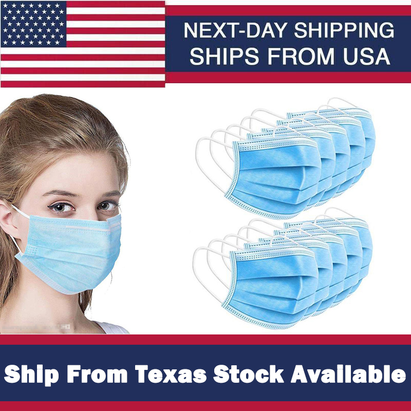 Safety Protective Facemasks Non Woven Disposable Facemask 3 Layers Anti-Splash Work Industry Facemasks Local Shipment From Texas