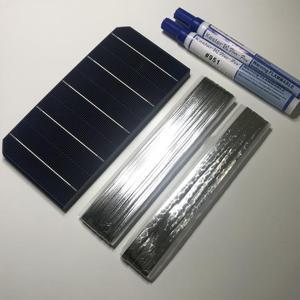 Image 2 - ALLMEJORES kits de paneles solares de 12V y 100W, células solares monocristalinas, 40 unidades/lote, con suficiente cable de tabulación y Barra colectora + pluma fundente