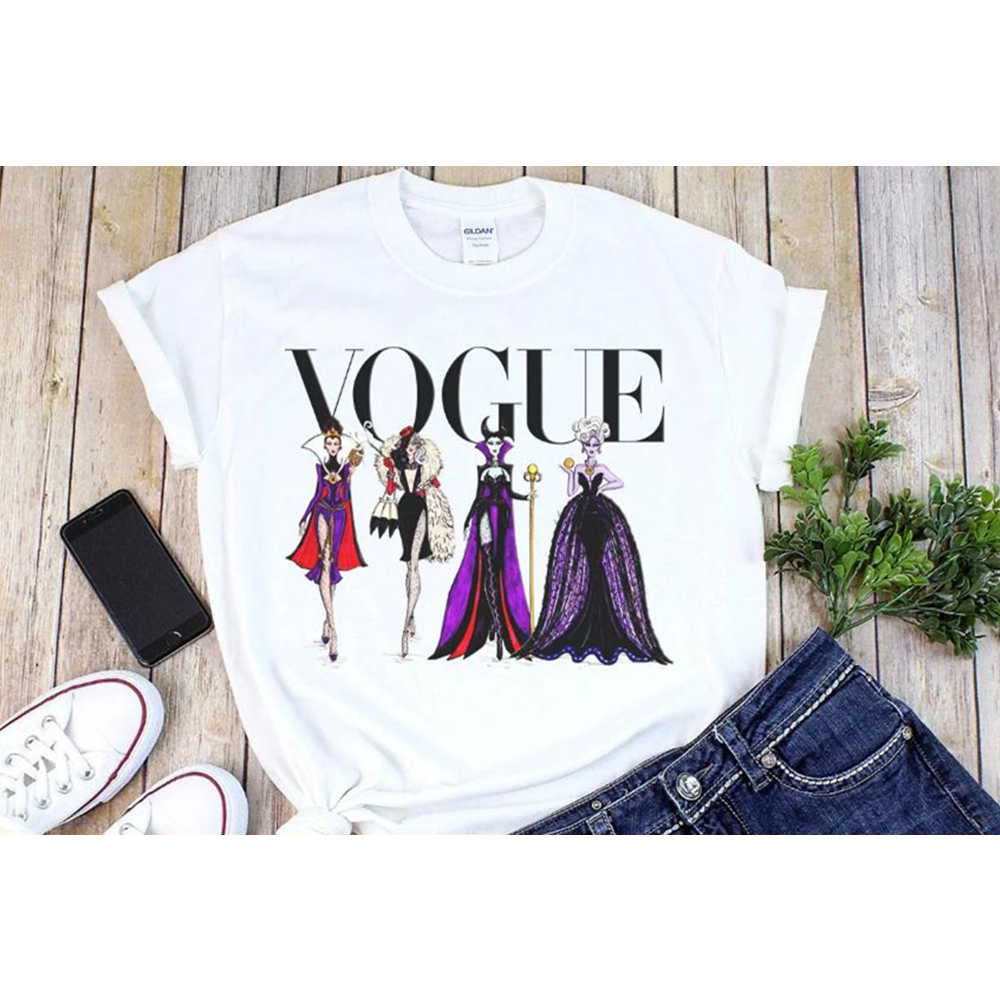 201 Fashion Ladies Tops Vogue Shirt Character Letter Printed T-shirt Villain Tee Maleficent Evil Queen Graphic Tee Shirt