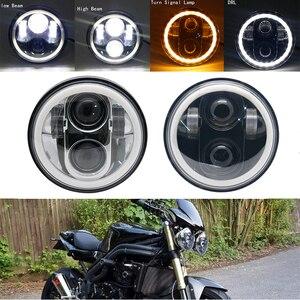 """Image 3 - 5 3/4 """"5.75 pollici Moto Moto HA CONDOTTO il Proiettore Full Halo Faro Per 5.75 pollici Moto"""