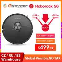 EU/CZ/RU Stock 2019 Roborock Newest Black S6 Robot Vacuum Cleaner Automatic Sweeping Dust Sterilize Smart Plan Washing Mopping