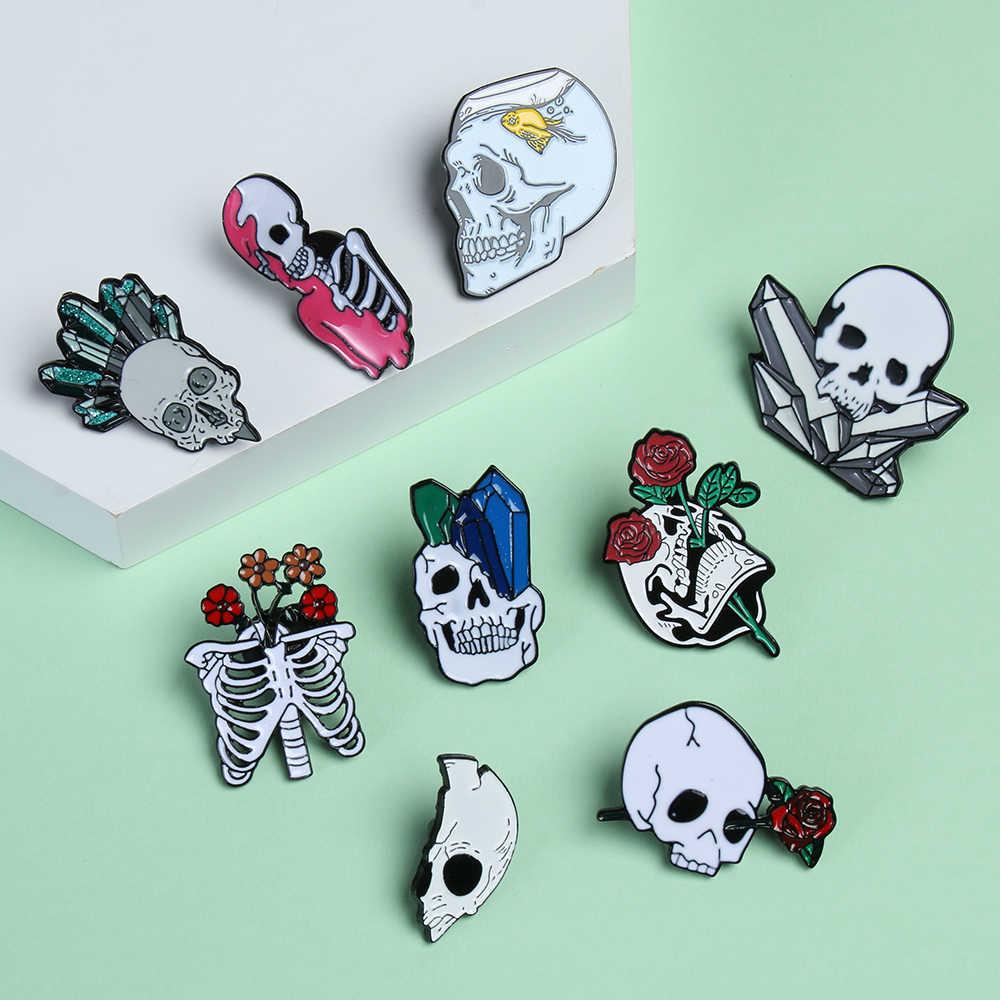 เครื่องประดับดอกไม้ Skull Enamel Pins Collection โครงกระดูก Rose Lapel Pins Love และ Death ป้ายโรแมนติกเข็มกลัด