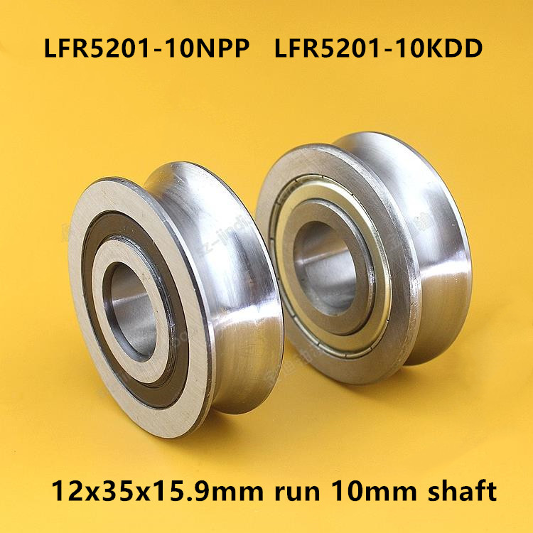 20pcs LFR5201-10NPP LFR5201-10KDD U groove pulley track guide roller bearing LFR5201-10 ZZ 2RS 12x35x15.9 mm run 10mm shaft image