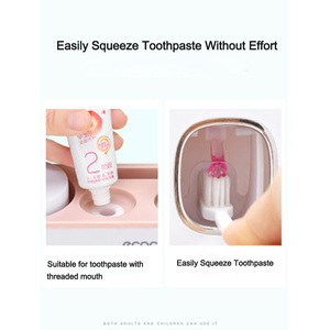 Image 3 - LEDFRE plastik otomatik diş macunu sıkacağı dağıtıcı seti duvara monte çocuklar eller çocuklar için ücretsiz banyo LF71001