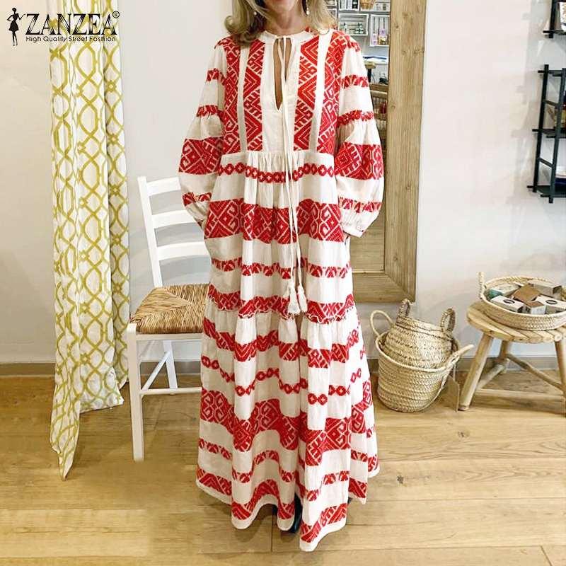 ZANZEA Fashion Women Summer Bohemian Dress 2020 Female V Neck Print Long Maxi Vestidos Beach Party Sundress Loose Pockets Dress