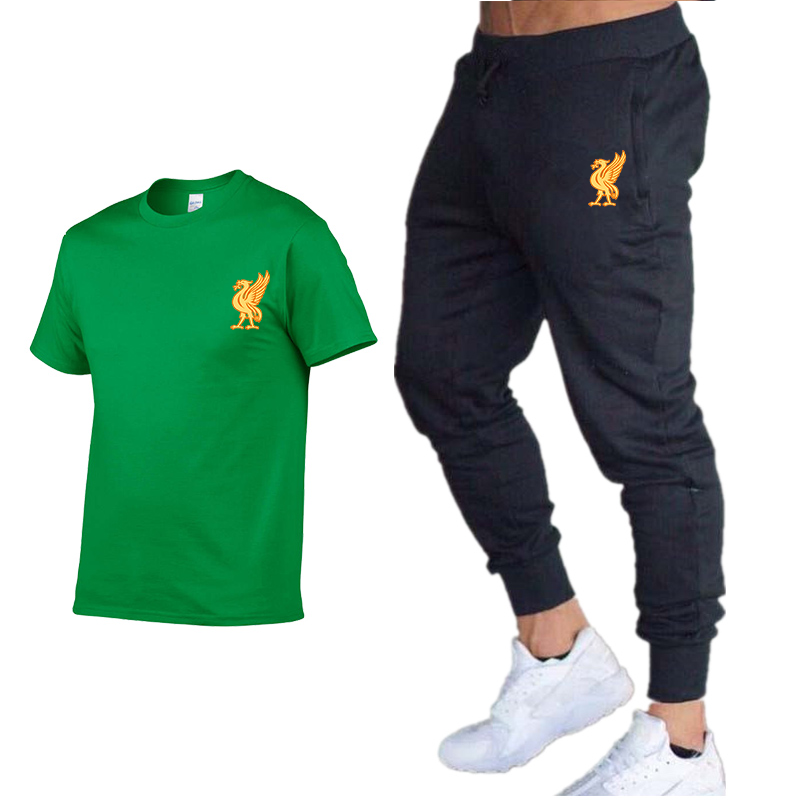 New Summer Hip-hop Print Fashion Suit Men's T-shirt + 2020 Trousers Street Casual Explosion Models Men And Women Sports Suits