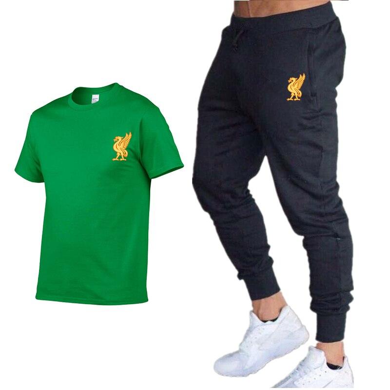 New Summer Hip-hop Print Fashion Suit Men's T-shirt + 2020 Trousers Street Casual Explosion Models Men And Women Sports Suits