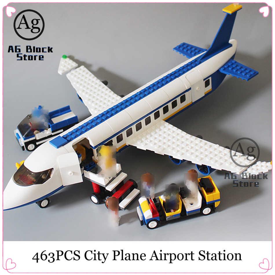 463 Pcs Konstruktor Kompatibel Legoed Kota Bandara Pesawat Stasiun Bangunan Batu Bata Blok Pesawat Batu Bata Mainan untuk Anak