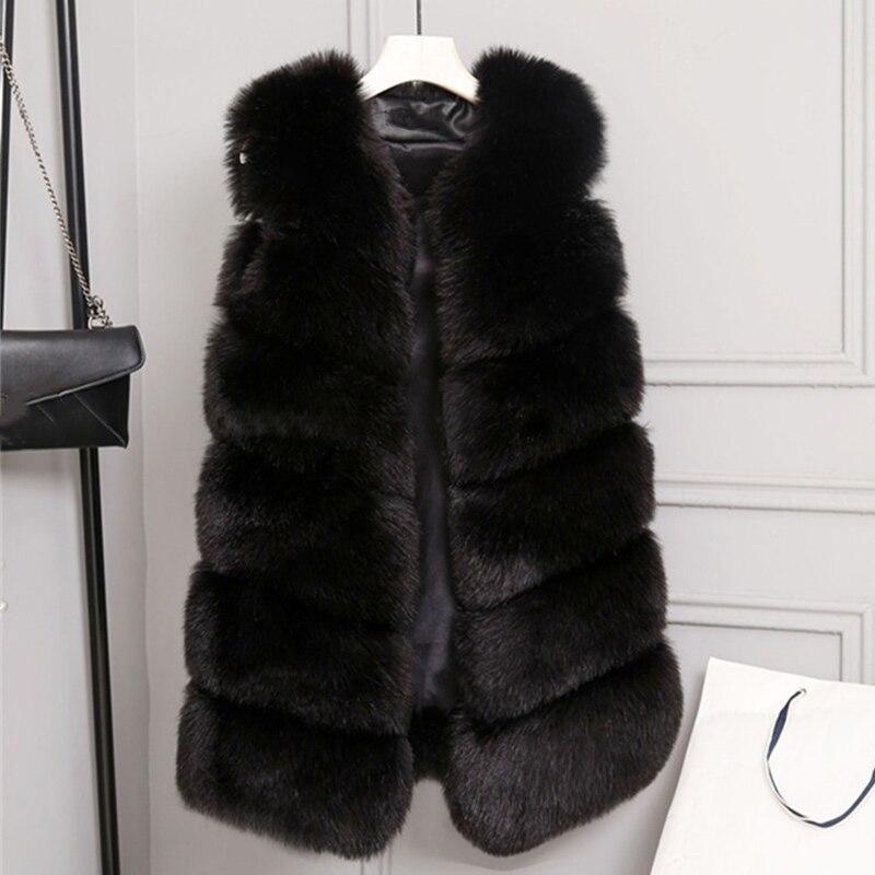 Transer Womens Winter Solid Sleeveless Soft Fluffy Faux Fur Warm Vest Gilet Waistcoat Blue
