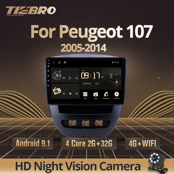 TIRBRO 2DIN Android 9.0 Car Multimedia Video Player For Peugeot 107 Toyota Aygo Citroen C1 2005-2014 Car Radio GPS Navigation BT image