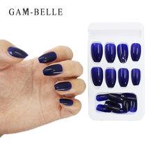 24 шт/кор носимые накладные ногти на палец нажимайте синий эффект