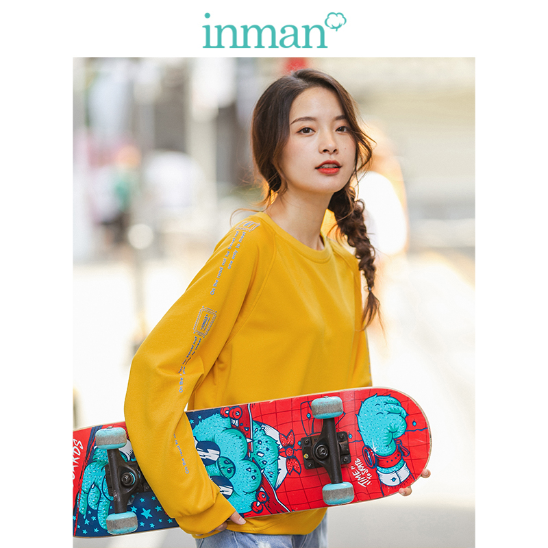 INMAN 2020 Spring New Arrival Solid O-neck Raglan Sleeve Print Loose Basic Women Short Sweat Shirt