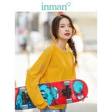 INMAN 2020 Spring New Arrival Solid O neck Raglan Sleeve Print Loose Basic Women Short Sweat Shirt