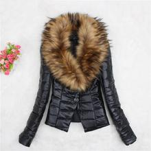 Winter Faux Fur Overcoat Pu Leather Coat Turn-Down Collar Women Warm Long Sleeve Faux Fox Fur Jacket Casual Slim Outerwear faux fur collar zip up pu leather padded coat