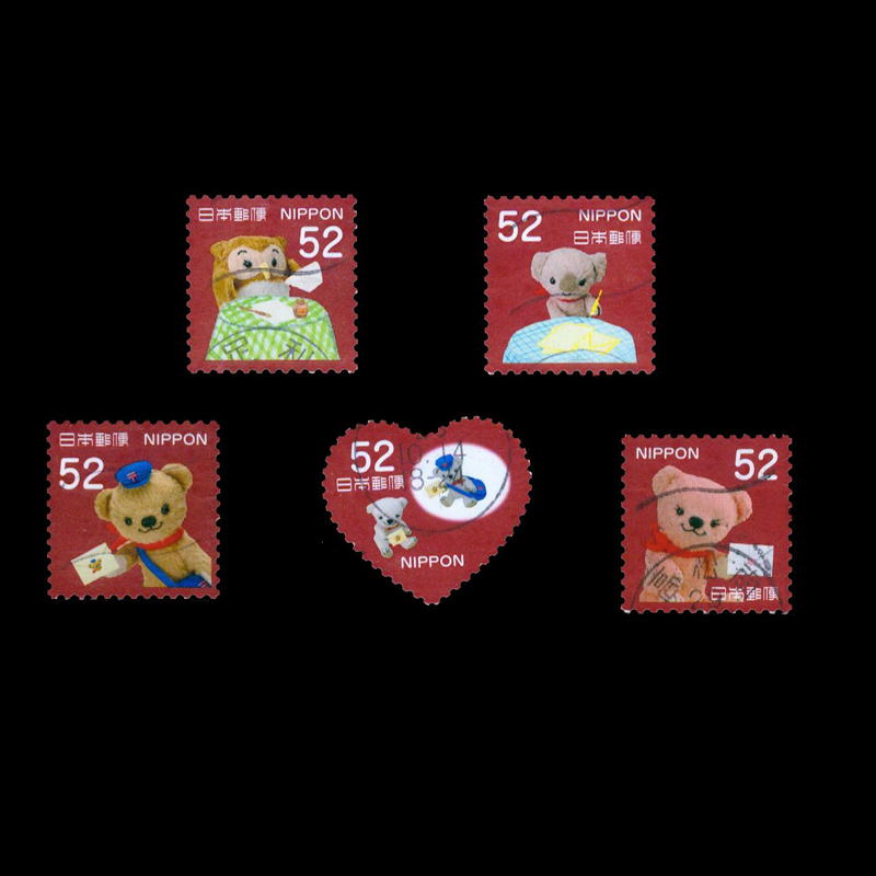 5 PCS Japan Post Stamp Nippon Cartoon Bear Used With Post Mark For Collection(China)
