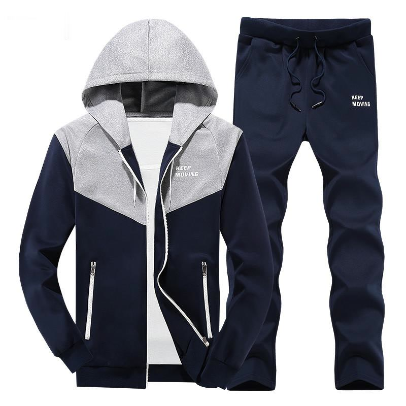 Chándal de talla europea para Hombre, ropa deportiva, conjuntos de Sudadera con capucha y pantalones para Hombre, trajes informales, Chandal para Hombre Completo