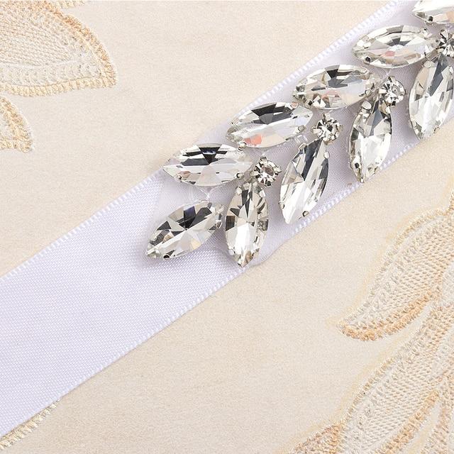 MissRDress Daimond Wedding Belt Crystal Flower Bridal Sash Silver Rhinestones Wedding Sash For Bridal Bridesmaid Dresses JK843 4