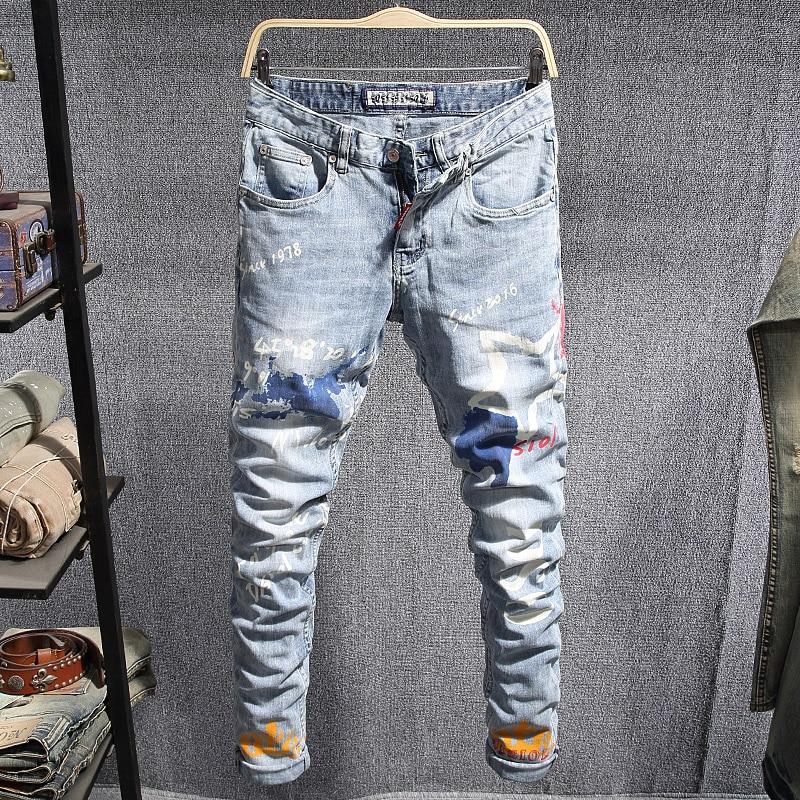 Newly Fashion Streetwear Men Jeans Light Blue Slim Fit Printed Designer Jeans Men Elastic Denim Pencil Pants Hip Hop Jeans Homme