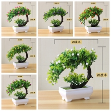 Bonsai Roses-Flower Living-Room-Decor Small-Tree Fake-Plants Office Artificial Green
