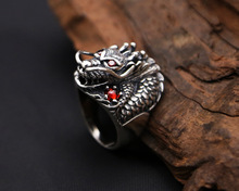 Thai Silver Real 925 Sterling Silver Ring Powerful Dragon for Men Ring Jewelry Vintage Mens Rings  Fine Jewelry silver jewelry antique thai silver ring red pomegranate jewelry exaggerated black ore ring wedding rings