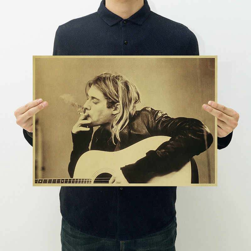 Hot Vintage Kurt Cobain Nirvana Frontman Rock Poster Kraft Paper Cafe Bar Poster Retro Poster Wall Sticker