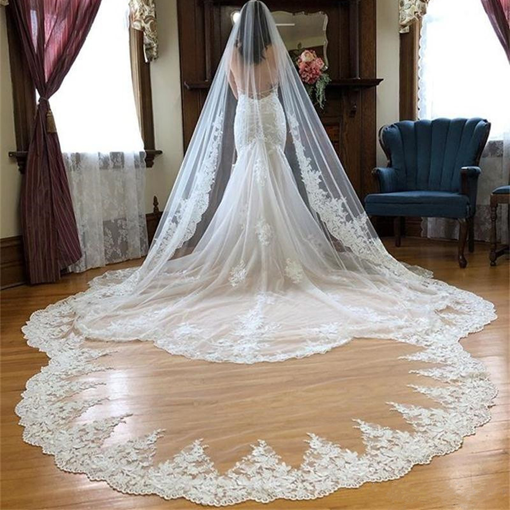 Ivory White Wedding Veils Cathedral Length with Comb Lace Crystals Bridal 3M 1T