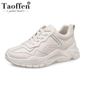 Taoffen, zapatillas diarias de cuero Real para mujer, zapatos de mujer con cordones y punta redonda, zapatos vulcanizados, calzado de ocio para mujer, talla 35-39