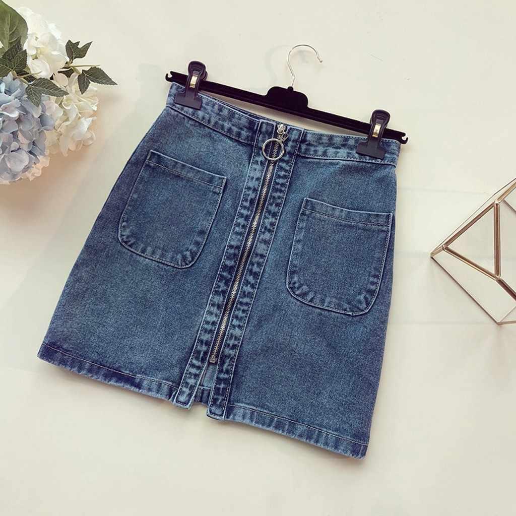 Kobiety spódniczki dżinsowe Zipper szczelina Denim slim, ciasne moda Pure Color wysokiej talii spódnica dżinsowa Streetwear seksowna spódnica linii Lady d #