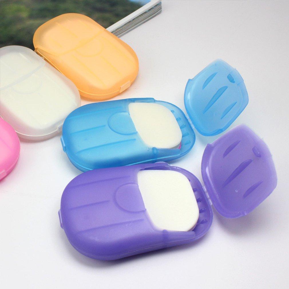 20 Pcs Paper Soap Outdoor Travel Bath Soap Tablets Portable Hand-washing Soap