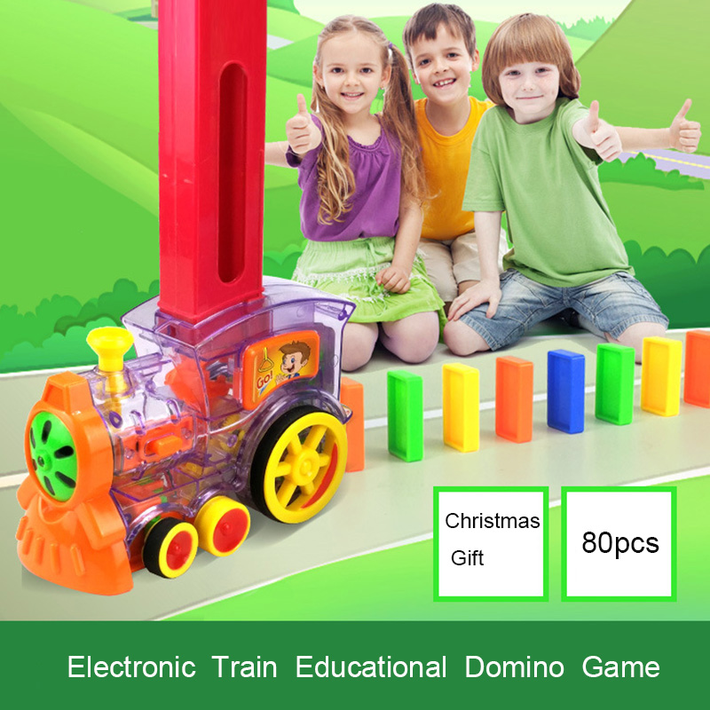 Domino Train Toy Set  Rally Train Model With 80 Pcs Colorful Domino Game Building Blocks Car Truck Vehicle Stacking Vehicle Gift