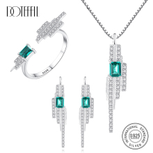 DOTEFFIL 925 Sterling Silver Square Emerald Blue-Green Gemstone Jewelry Set Ring/Earring/Necklace for Women Fine Jewelry Party