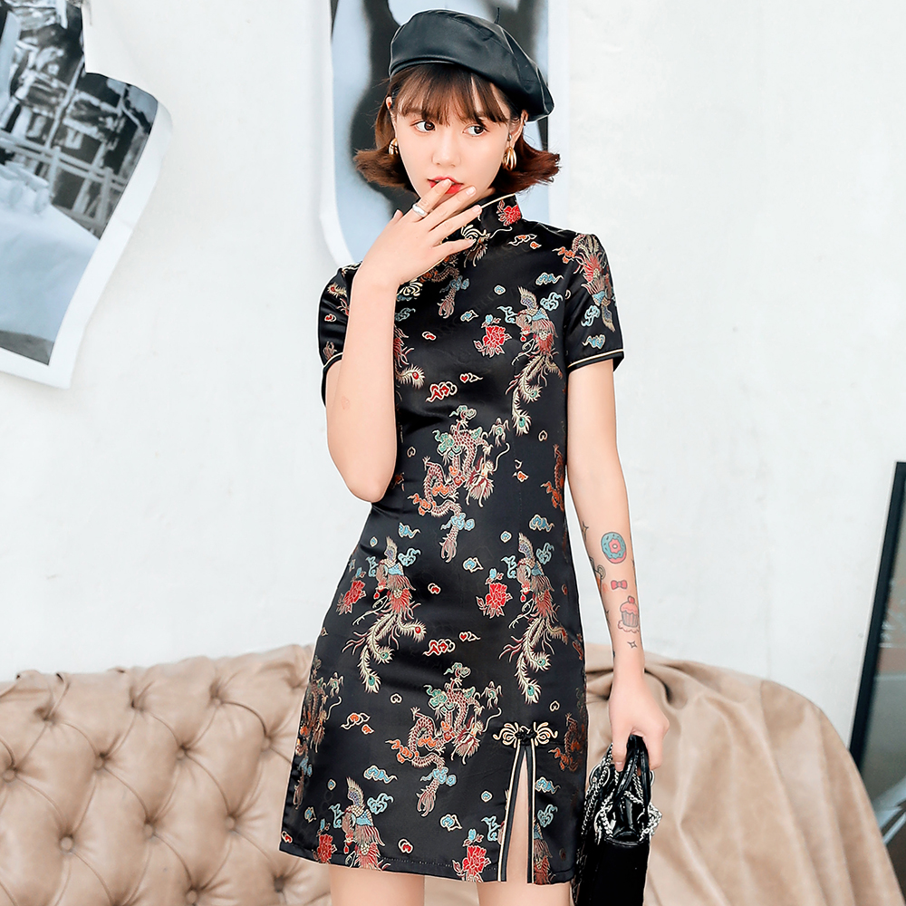 Chinese Female Satin Dress Elegant Slim Plus Size Qipao Mandarin Collar Vintage Cheongsam Vestidos Sexy High Split Chinese Dress