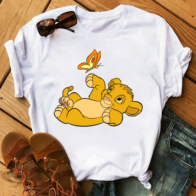 Summer 2020 Women T-shirt Lion King Printed Tshirt Harajuku Ullzang Casual Tshirt Female Top Tees Short Sleeve Femme