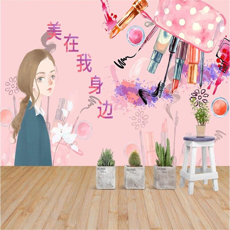 Custom Fashion Women Cartoon Beauty Makeup Store Wall Paper 3D Nail Shop Industrial Decor Background Mural Wallpaper 3D