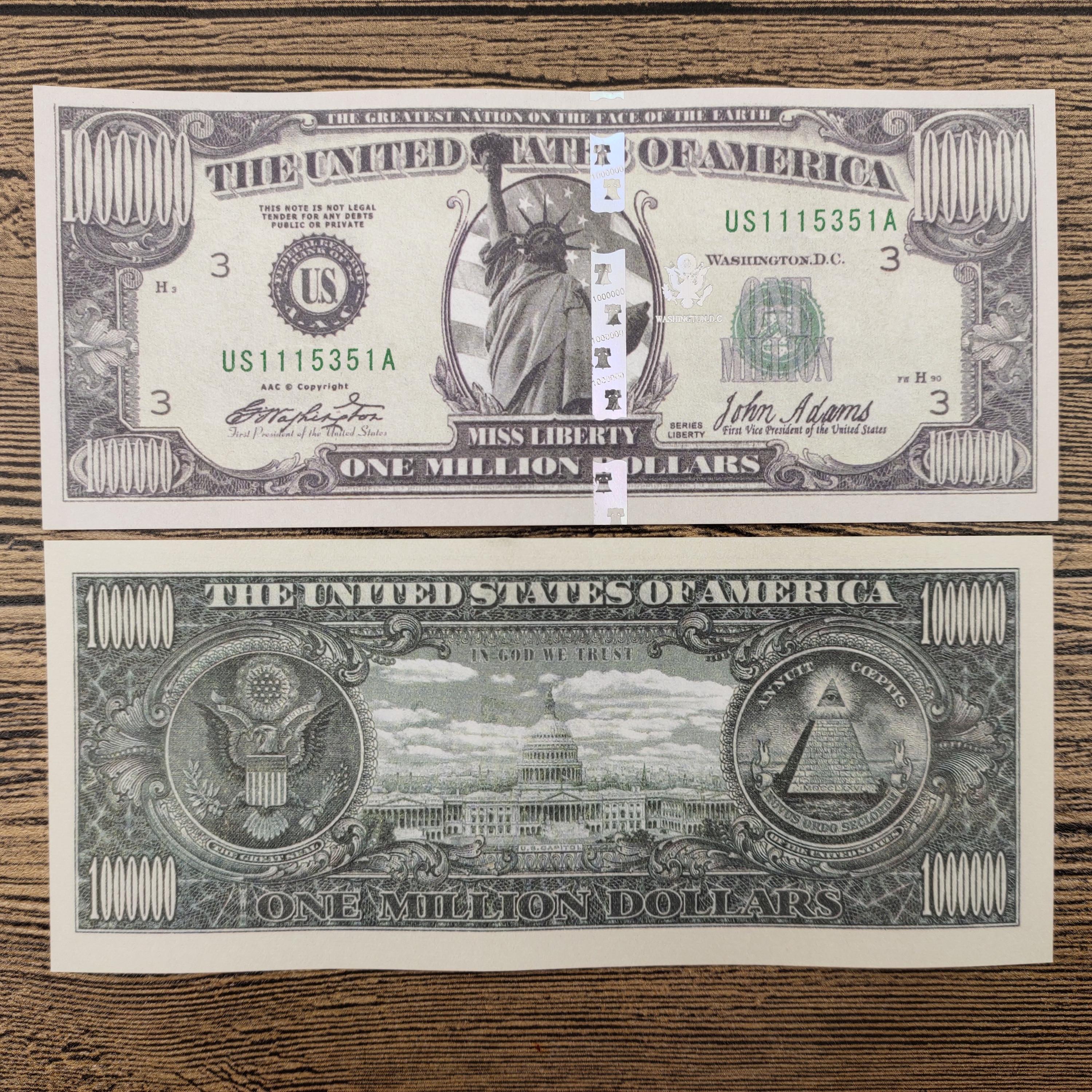 Us um milhão de dólares papel notas de dinheiro falso notas não-moeda