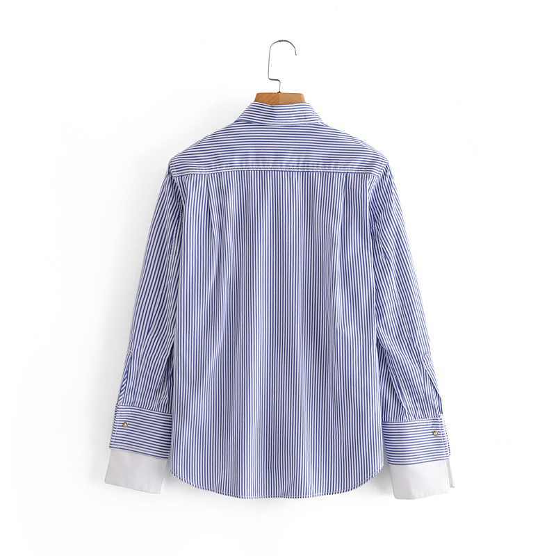 European and American wholesale 2020 women's new vertical stripe loose thin long sleeve shirt blouse