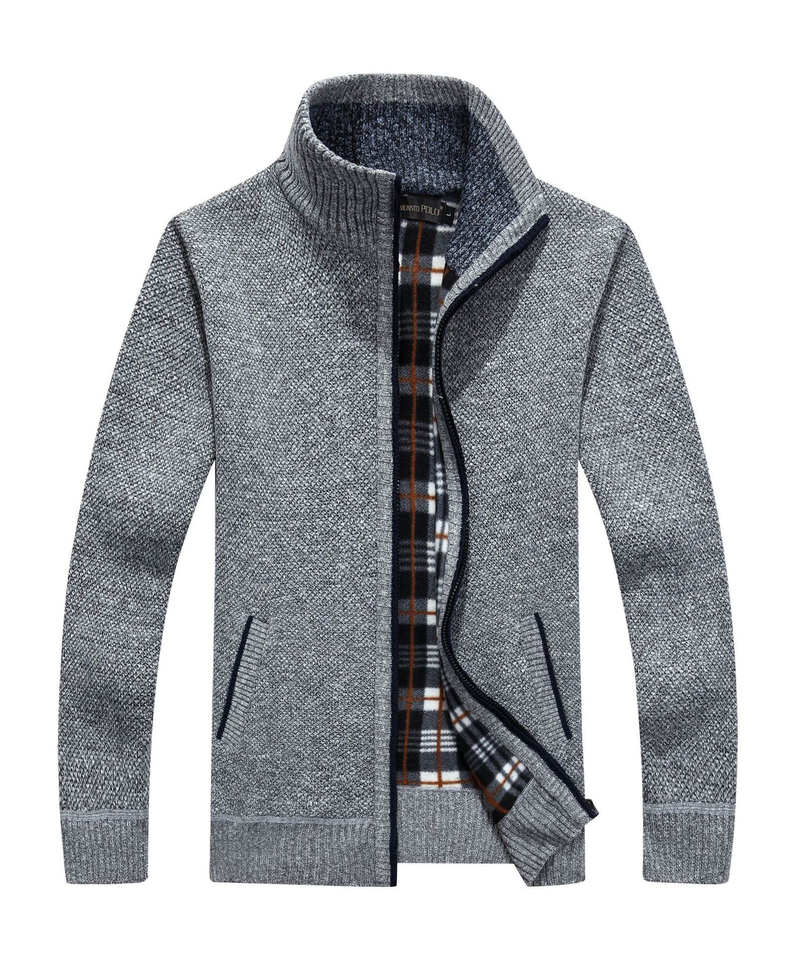 Thick Men's Knitted Sweater Coat Off White Long Sleeve Cardigan Fleece Full Zip Male Causal Plus Size Clothing For Autumn Spring 4