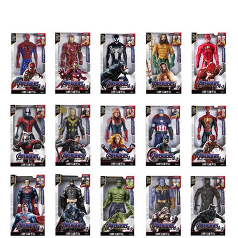 Marvel 30CM sonido y luz figura de acción regalo vengadores Iron Man Hulk Capitán América Thor Thanos Batman Spiderman niño regalo 12 juntas móviles ojos 3D muñecas chinas juguetes con accesorios ropa y joyería figura de disfraz Nake Muñeca China juguete para niñas