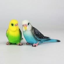 Periquito de loro de simulación creativa, decoración para paisajismo en miniatura de animales, figurita de césped, pájaro Artificial, accesorios de fotografía