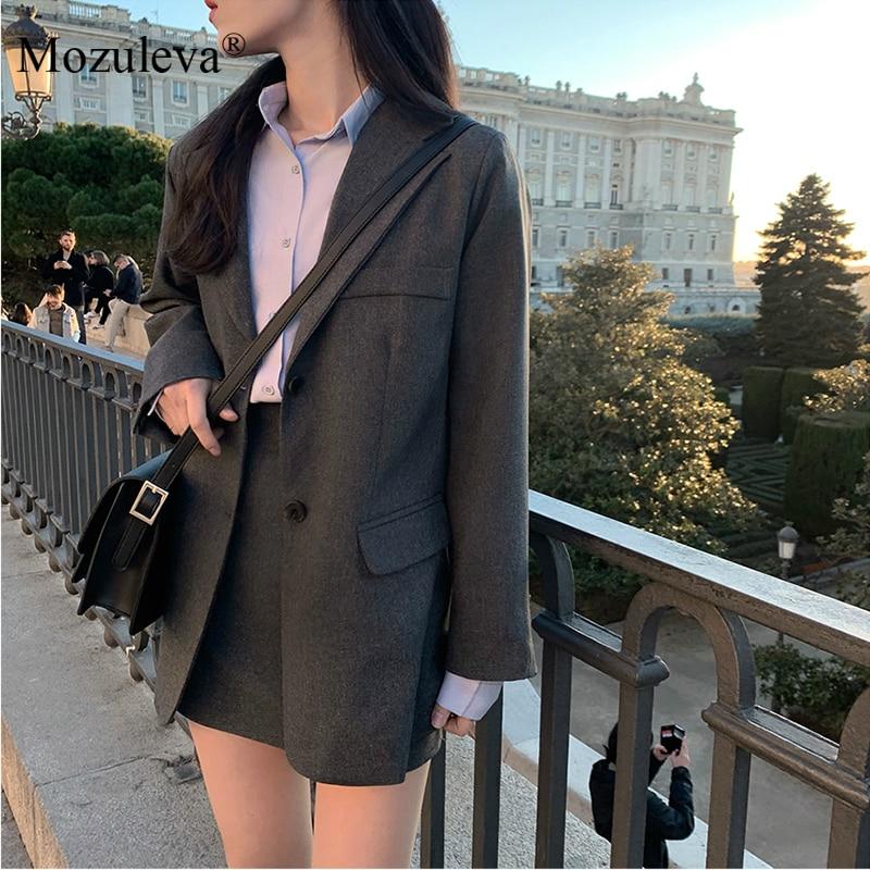 Mozuleva 2020 Retro Solid Blazer Set Single-breasted Jacket & Pencil Skirt 2 Pieces Skirt Suit Female Office Ladies Blazer Suit 10