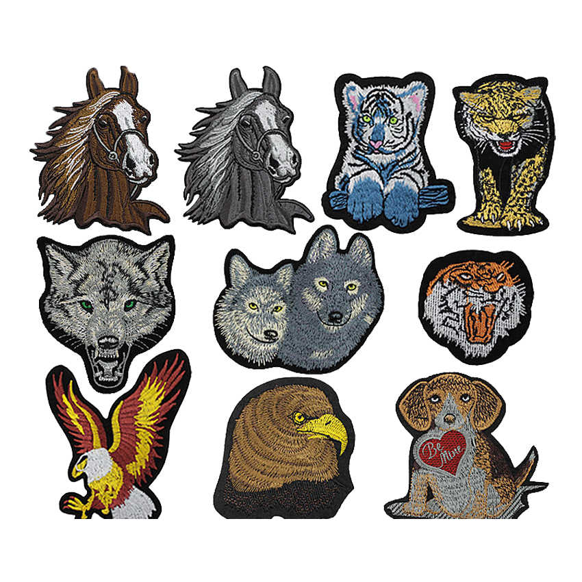 Eagle Animal Iron on Patches for Clothing Tiger Lion Wolf Horse Dog Embroidery Applique Badges for Clothes T Shirt Jeans Shoes
