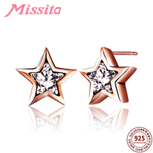 MISSITA 925 Sterling Silver Rose Gold Star Earrings with CZ Crystal For Women Silver Jewelry Brand Stud Earrings Party Gift women girl s 925 silver statement crystal cz fan shaped stud earrings for dress wedding party jewelry retro fashion gift